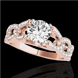 1.5 CTW H-SI/I Certified Diamond Solitaire Ring 10K Rose Gold - REF-218M2H - 35215