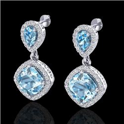 7 CTW Sky Blue Topaz & Micro VS/SI Diamond Earrings Halo 10K White Gold - REF-74M9H - 20200