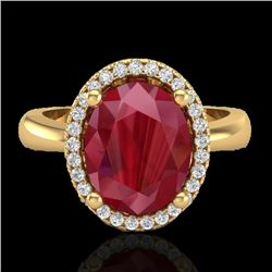 3 CTW Ruby And Micro Pave VS/SI Diamond Ring Halo 18K Yellow Gold - REF-64F9N - 21113