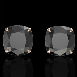 12 CTW Cushion Cut Black VS/SI Diamond Designer Stud Earrings 14K Rose Gold - REF-208H2A - 21774