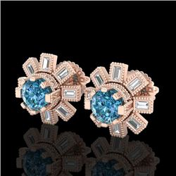 1.77 CTW Fancy Intense Blue Diamond Art Deco Stud Earrings 18K Rose Gold - REF-177H3A - 37867