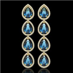 11.2 CTW London Topaz & Diamond Halo Earrings 10K Yellow Gold - REF-159M5H - 41320