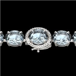 79 CTW Sky Blue Topaz & Micro VS/SI Diamond Halo Bracelet 14K White Gold - REF-229M3H - 22283