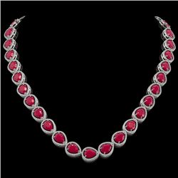 64.01 CTW Ruby & Diamond Halo Necklace 10K White Gold - REF-785M8H - 41189