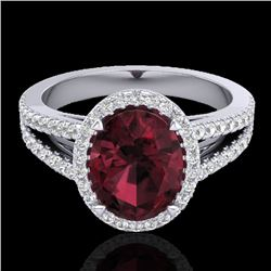 3 CTW Garnet & Micro VS/SI Diamond Halo Solitaire Ring 18K White Gold - REF-67K3W - 20941