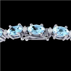 10 CTW Aquamarine & VS/SI Diamond Eternity Bracelet 10K White Gold - REF-102Y2K - 21440