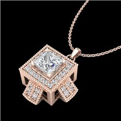 0.84 CTW Princess VS/SI Diamond Micro Pave Necklace 18K Rose Gold - REF-149M3H - 37191
