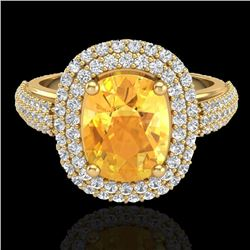 3.50 CTW Citrine & Micro Pave VS/SI Diamond Halo Ring 14K Yellow Gold - REF-98K2W - 20716