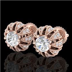 2.01 CTW VS/SI Diamond Art Deco Micro Pave Stud Earrings 18K Rose Gold - REF-272M8H - 36996