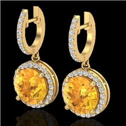 4 CTW Citrine & Micro Pave VS/SI Diamond Designer Halo 18K Yellow Gold - REF-87N8Y - 23180