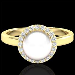 0.25 CTW Micro Pave Halo VS/SI Diamond & White Pearl Ring 18K Yellow Gold - REF-53H6A - 21647