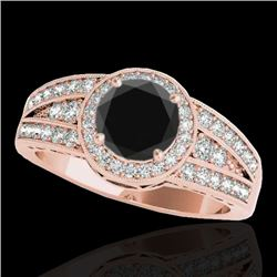 1.5 CTW Certified VS Black Diamond Solitaire Halo Ring 10K Rose Gold - REF-77M3H - 34073