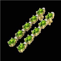 10.36 CTW Peridot & VS/SI Certified Diamond Earrings 10K Yellow Gold - REF-65W8F - 29402
