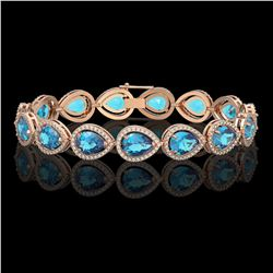 20.3 CTW Swiss Topaz & Diamond Halo Bracelet 10K Rose Gold - REF-286F2N - 41268