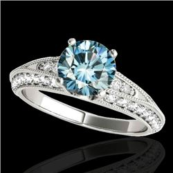 1.58 CTW Si Certified Blue Diamond Solitaire Antique Ring 10K White Gold - REF-172Y8K - 34626
