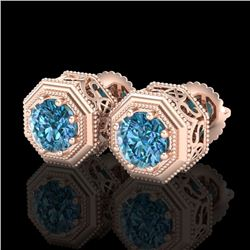 1.07 CTW Fancy Intense Blue Diamond Art Deco Stud Earrings 18K Rose Gold - REF-118W2F - 37937