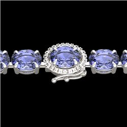 32 CTW Tanzanite & VS/SI Diamond Tennis Micro Halo Bracelet 14K White Gold - REF-328H9A - 23440