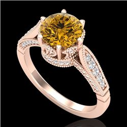 2.2 CTW Intense Fancy Yellow Diamond Engagement Art Deco Ring 18K Rose Gold - REF-336H4A - 38093