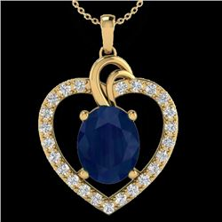 4 CTW Sapphire & VS/SI Diamond Designer Inspired Heart Necklace 14K Yellow Gold - REF-74A9X - 20497