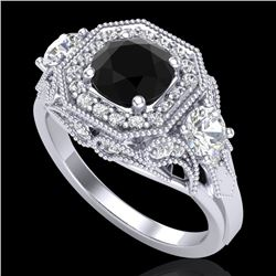 2.11 CTW Fancy Black Diamond Solitaire Art Deco 3 Stone Ring 18K White Gold - REF-180F2N - 38297