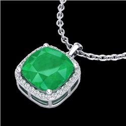 6 CTW Emerald & Micro Pave Halo VS/SI Diamond Necklace Solitaire 18K White Gold - REF-85F5N - 23079