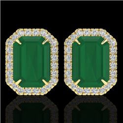 10.40 CTW Emerald & Micro Pave VS/SI Diamond Halo Earrings 18K Yellow Gold - REF-142H4A - 21225