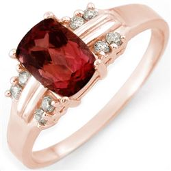 1.41 CTW Pink Tourmaline & Diamond Ring 18K Rose Gold - REF-42H8A - 10648