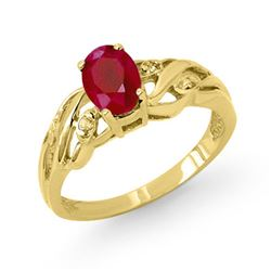 1.02 CTW Ruby & Diamond Ring 10K Yellow Gold - REF-20W2F - 13010