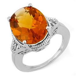 11.18 CTW Citrine & Diamond Ring 14K White Gold - REF-49H3A - 11198