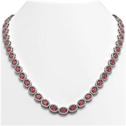 31.1 CTW Tourmaline & Diamond Halo Necklace 10K White Gold - REF-600X2T - 40418