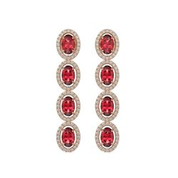 5.88 CTW Tourmaline & Diamond Halo Earrings 10K Rose Gold - REF-121X3T - 40521