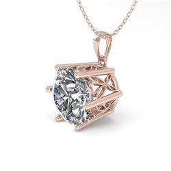 1 CTW Certified VS/SI Diamond Solitaire Necklace 18K Rose Gold - REF-274F6N - 35861
