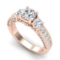 2.07 CTW VS/SI Diamond Solitaire Art Deco 3 Stone Ring 18K Rose Gold - REF-327X3T - 37017