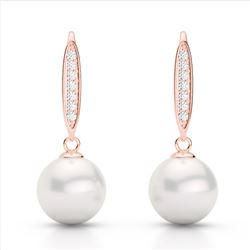 0.18 CTW Micro VS/SI Diamond & White Pearl Designer Earrings 14K Rose Gold - REF-30W9F - 22637
