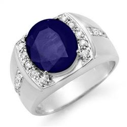6.33 CTW Sapphire & Diamond Men's Ring 10K White Gold - REF-76M2H - 14483