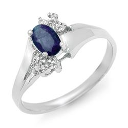 0.77 CTW Blue Sapphire & Diamond Ring 18K White Gold - REF-30X2T - 12409