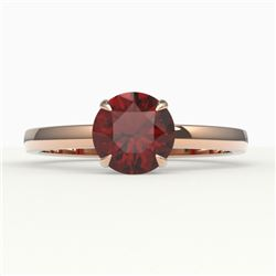 2 CTW Garnet Designer Inspired Solitaire Engagement Ring 14K Rose Gold - REF-24Y9K - 22222