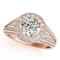 1.7 CTW Certified VS/SI Diamond Solitaire Halo Ring 18K Rose Gold - REF-416K4W - 26719