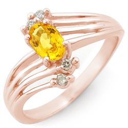 0.80 CTW Yellow Sapphire & Diamond Ring 14K Rose Gold - REF-30K9W - 10547
