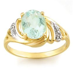 2.04 CTW Aquamarine & Diamond Ring 10K Yellow Gold - REF-30N9Y - 11551