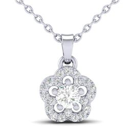 0.28 CTW VS/SI Diamond Micro Pave VS/SI Diamond Necklace Moon Halo 10K White Gold - REF-23N8Y - 2134