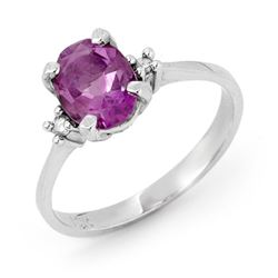 1.53 CTW Amethyst & Diamond Ring 10K White Gold - REF-22Y2K - 12365