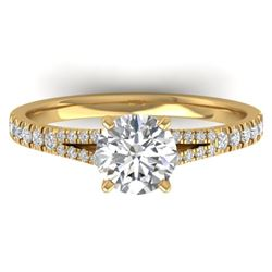 1.36 CTW Certified VS/SI Diamond Solitaire Art Deco Ring 14K Yellow Gold - REF-353F3N - 30377