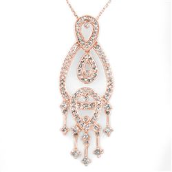 1.0 CTW Certified VS/SI Diamond Necklace 14K Rose Gold - REF-86H9A - 10178
