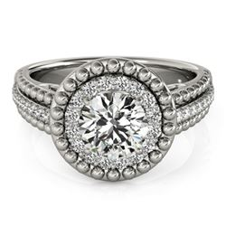 1.15 CTW Certified VS/SI Diamond Solitaire Halo Ring 18K White Gold - REF-217H3A - 26569