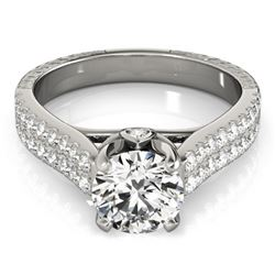 1.36 CTW Certified VS/SI Diamond Pave Ring 18K White Gold - REF-227A6X - 28092