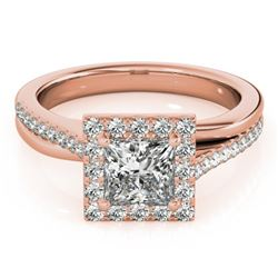 1.5 CTW Certified VS/SI Princess Diamond Solitaire Halo Ring 18K Rose Gold - REF-399M3H - 27202