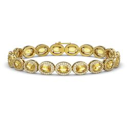 12.73 CTW Fancy Citrine & Diamond Halo Bracelet 10K Yellow Gold - REF-226K9W - 40495