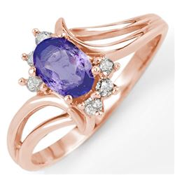 0.70 CTW Tanzanite & Diamond Ring 14K Rose Gold - REF-24N2Y - 10190