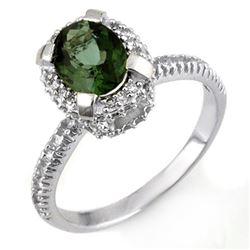 2.10 CTW Green Tourmaline & Diamond Ring 14K White Gold - REF-62T4M - 11178